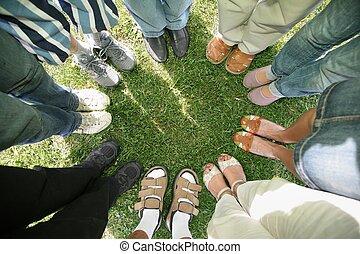 friends, kreis, acht, stehen