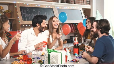 Friends Laugh at Party