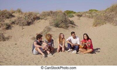 Friends Listening Acoustic Guitar. - Five friends sitting on...