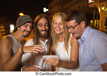 Friends looking at great shots of today evening