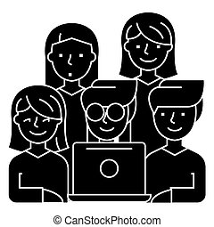 friends looking at notebook - 5 persons icon, illustration, vector sign on isolated background
