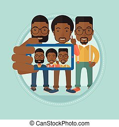 Friends making selfie vector illustration.