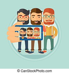 Friends making selfie vector illustration.