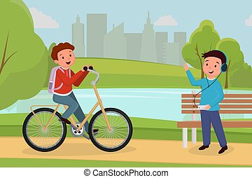 Friends meeting in urban park illustration. Boy riding...