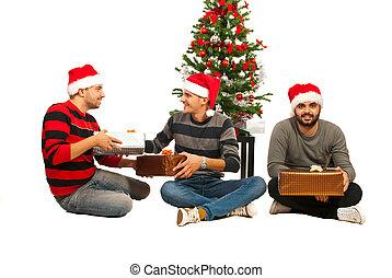 Friends men celebrate Christmas