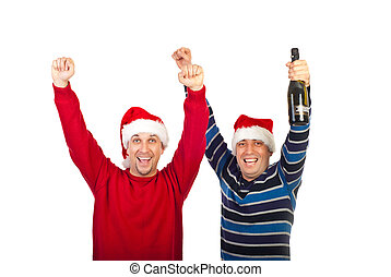 Friends men cheering  with champagne