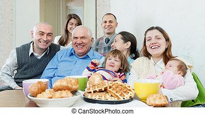 friends, multigeneration, gruppe, oder, familie