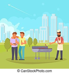 Friends on bbq vector flat illustration