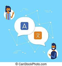 Friends on translation app online for social media