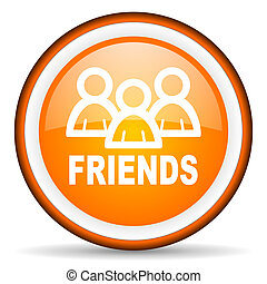 friends orange glossy circle icon on white background