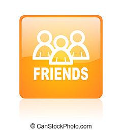 friends orange square glossy web icon