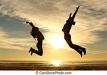friends, paar, springende , sonnenuntergang- strand, oder