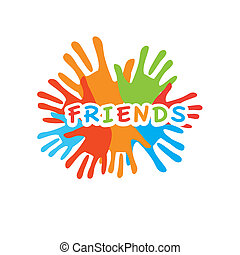 friends-palm-unity - Sign of friends. Vector symbol of...