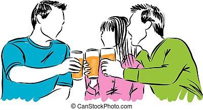 friends party time drinking beer illustration