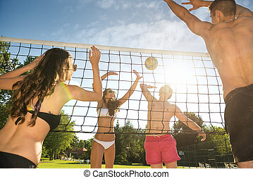 Friends play volleyball on the beach