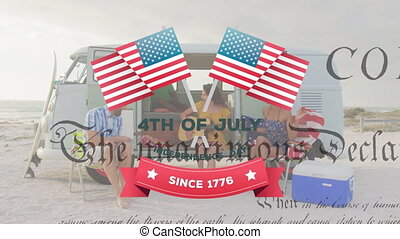Animation of Independence Day text with Constitution text rolling over multi-ethnic group of friends sitting in a car. United States of America flag and holiday concept digital composition