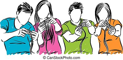 friends playing video games vector illustration
