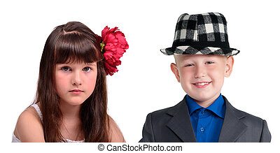 Friends portrait - little girl and boy