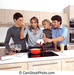 Friends Preparing Breakfast e