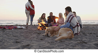Friends Relaxing At Bonfire Beach Party