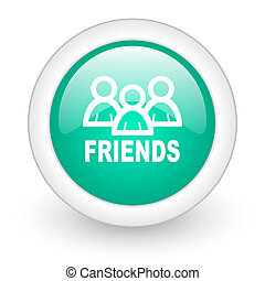 friends round glossy web icon on white background