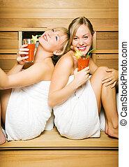 friends, sauna