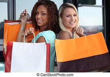friends, shoppen, zusammen
