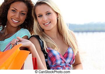 friends, shoppen, zwei, säcke