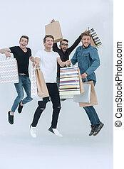 friends, shopping., gruppe, tanzen