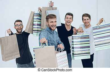 friends, shopping., gruppe, tanzen