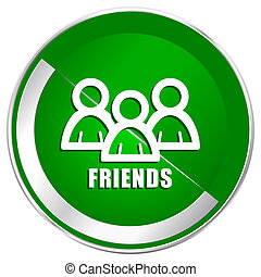 Friends silver metallic border green web icon for mobile apps and internet.