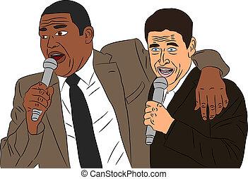Friends Singing Karaoke vector
