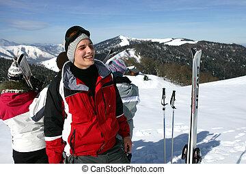 friends, ski fahrend
