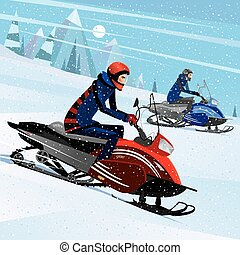 Friends snowmachine race - People riding on a snowmobile -...