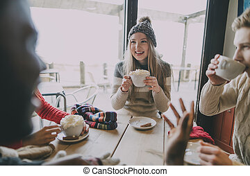 Friends Socialise In Winter Cafe - A small group of friends...