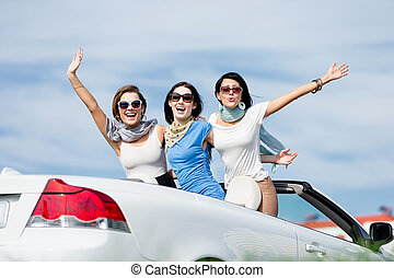Friends stand in the car with hands up