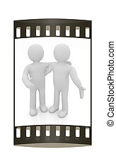 Friends standing next to an embrace. 3d image. Isolated white background. The film strip