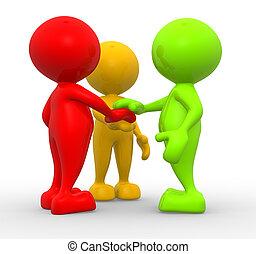 Friends - 3d people - men, person - friends. The concept of...