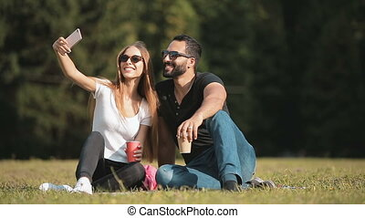 Friends Take Selfie in Park