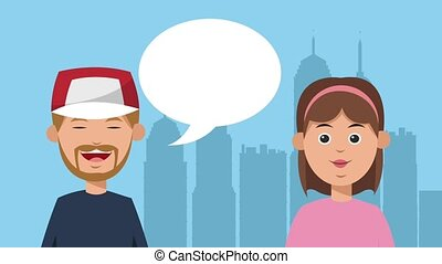 Friends talking in the city HD animation
