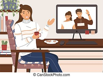 Friends talking to each other via video call, online conference. Girl communicating with couple