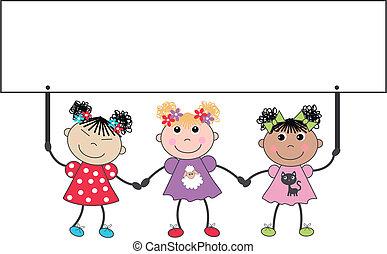 friends - three cute mixed ethnic girls