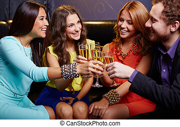 Friends toasting