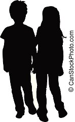 friends together, two children body silhouette