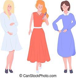friends., trois filles, ladies., groupe