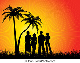 Friends under palm trees - Silhouettes of friends under palm...
