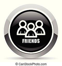 Friends vector steel icon. Chrome border round web button....
