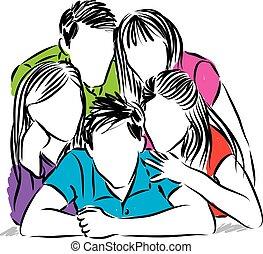 friends, vektor, Gruppe, zusammen, abbildung