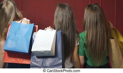 Friends Walk after Shopping