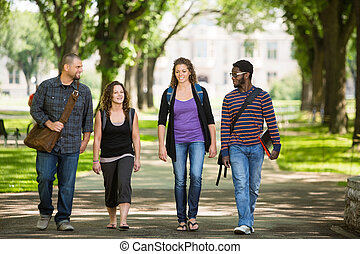 Friends Walking On Campus Road - Full length of multiethnic ...
